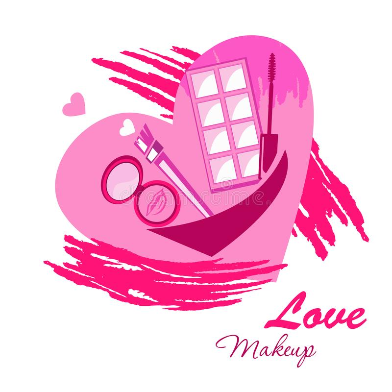 L'emblème de logo de beauté de maquillage d'amour sur l'aquarelle de coeur éclabousse illustration libre de droits