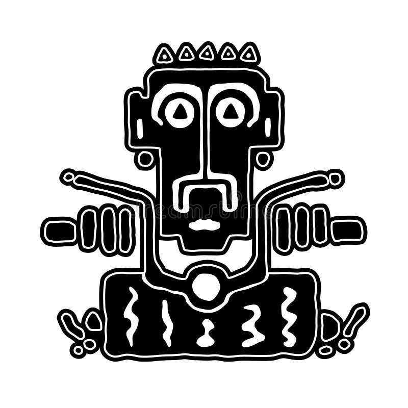 L'emblème de logo ou d'autocollant outre du motard sur une moto, main dessine l'illustration noire et blanche dans le style tribe illustration libre de droits