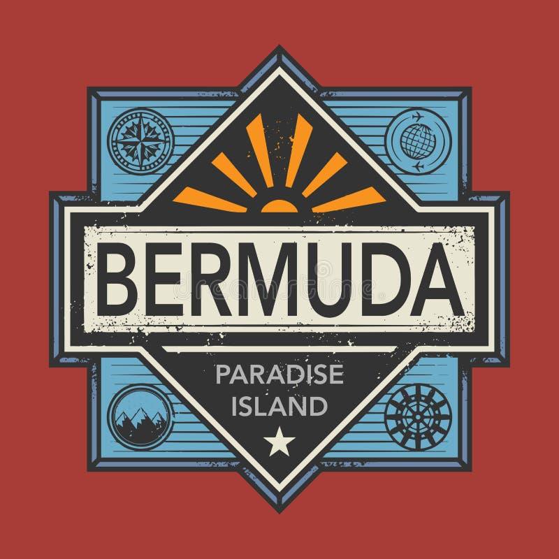 L'emblème de timbre ou de vintage avec le texte Bermudes, découvrent le monde illustration de vecteur