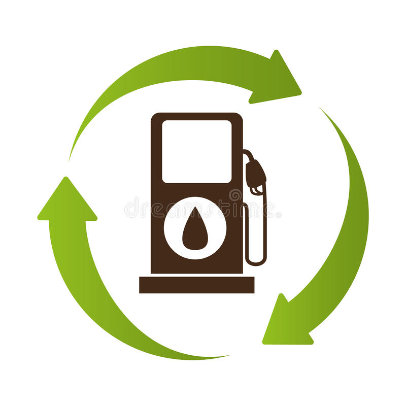 L'emblème en cercle a formé par des flèches avec la bio station de carburant illustration libre de droits