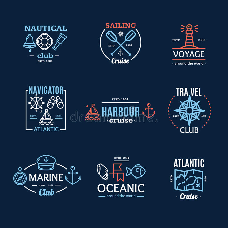 L'emblème nautique Badges ou marque la ligne Art Set Vecteur illustration de vecteur