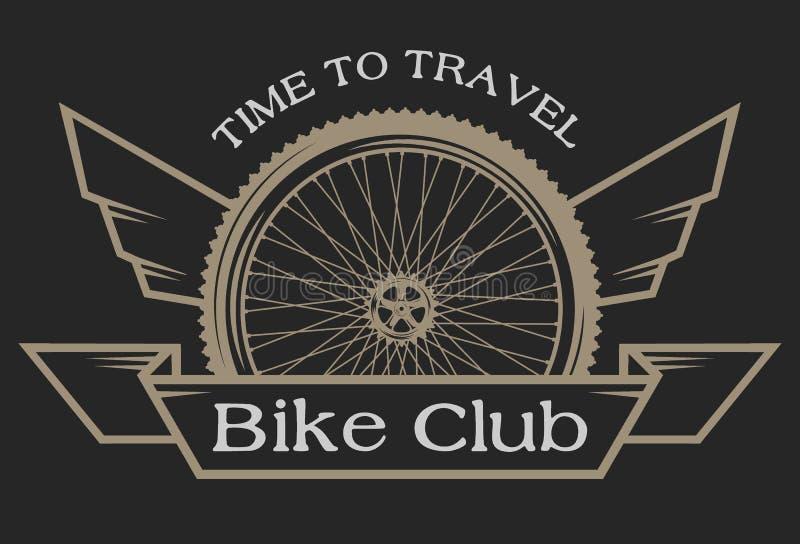 L'emblème sur le sujet des bicyclettes illustration de vecteur