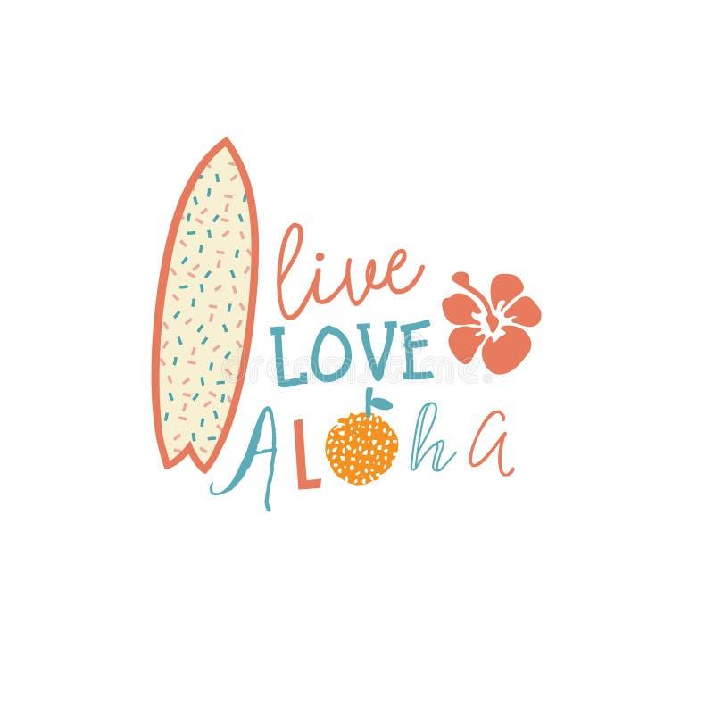 L'emblème surfant d'été avec la citation des textes, la planche de surf et les ketmies fleurissent illustration libre de droits