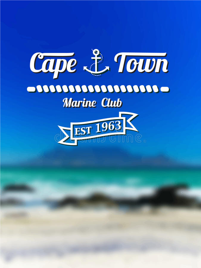 L'emblema dell'yacht club di Cape Town con un backgro vago illustrazione vettoriale