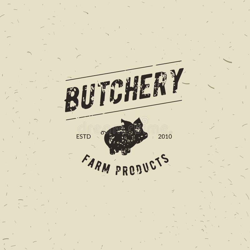 L'emblema della macelleria della macelleria con la siluetta del maiale, manda un sms alla macelleria, carne fresca, prodotti di f illustrazione di stock