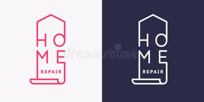 L'emblema della riparazione domestica Illustrazione moderna di vettore illustrazione vettoriale