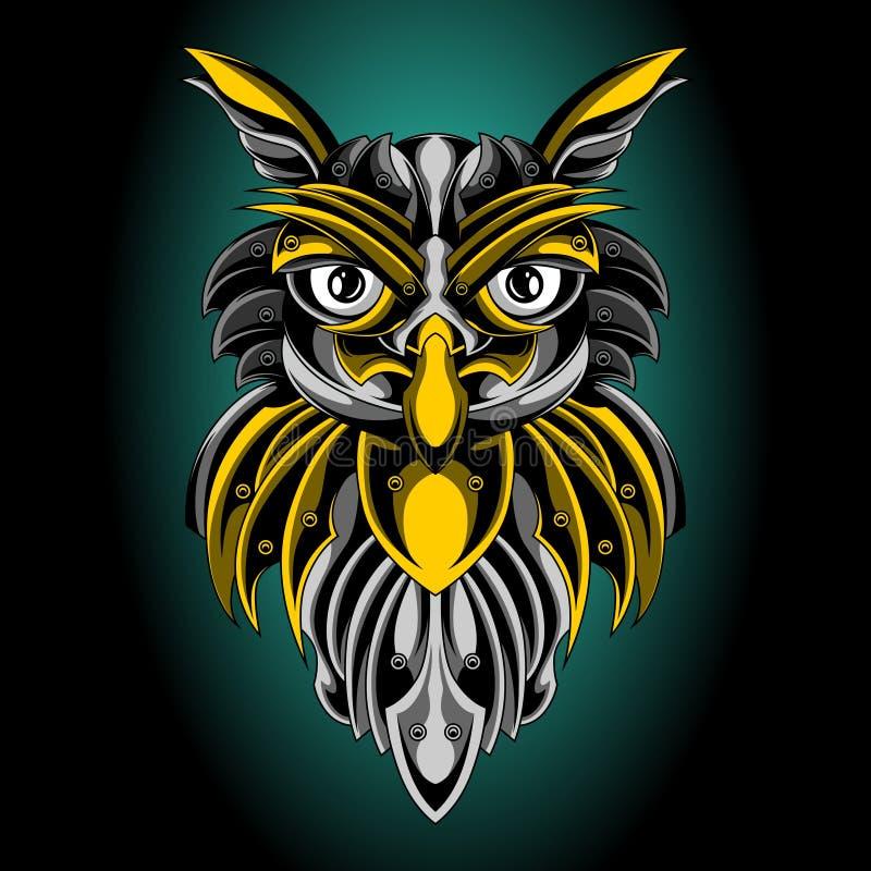 L'emblema dorato del gufo santo illustrazione di stock