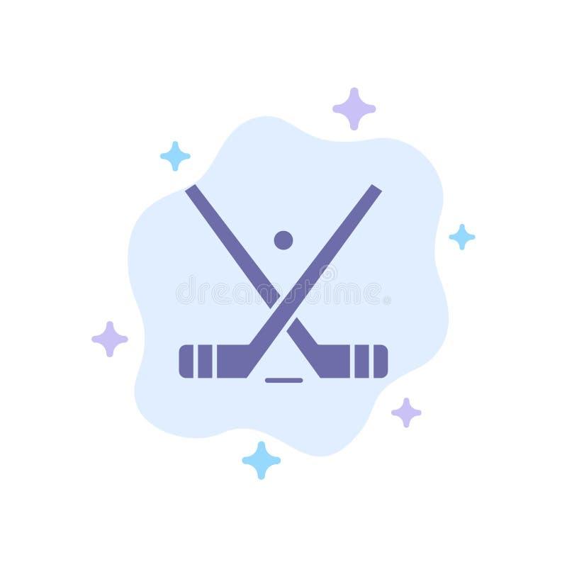 L'emblema, hockey, ghiaccio, bastone, attacca l'icona blu sul fondo astratto della nuvola illustrazione di stock
