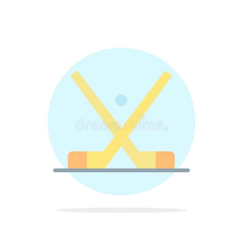 L'emblema, hockey, ghiaccio, bastone, attacca l'icona piana di colore del fondo astratto del cerchio illustrazione di stock