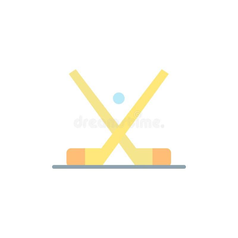 L'emblema, hockey, ghiaccio, bastone, attacca l'icona piana di colore Modello dell'insegna dell'icona di vettore illustrazione di stock