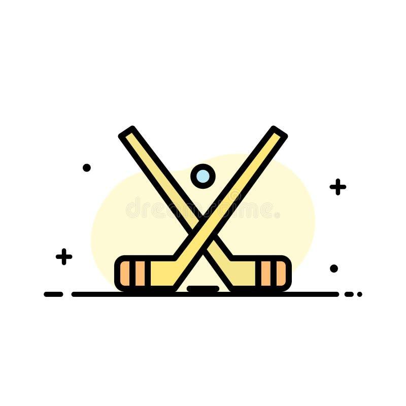 L'emblema, hockey, ghiaccio, bastone, attacca la linea piana modello riempito di affari dell'insegna di vettore dell'icona royalty illustrazione gratis