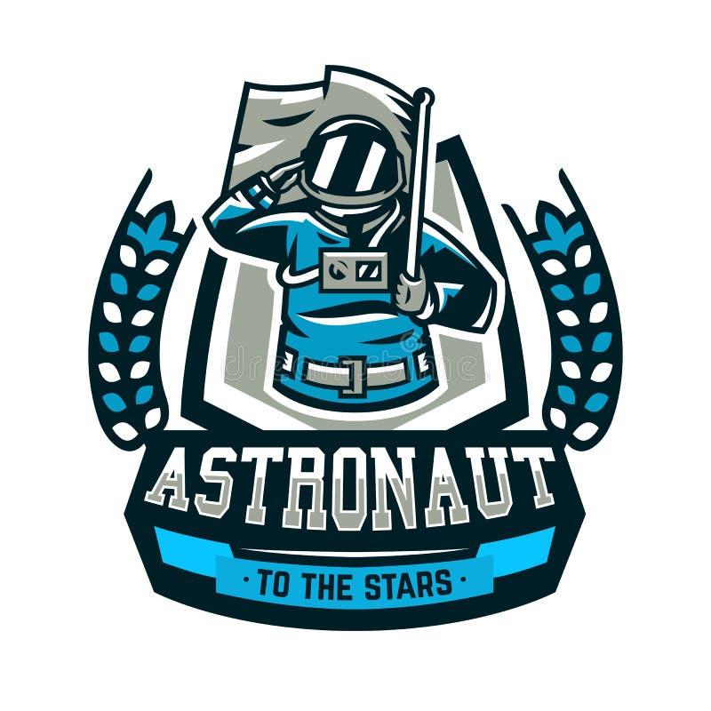 L'emblema, logo, un astronauta saluta e tiene una bandiera Volo alla luna, spazio, viaggio intergalattico, universo, schermo royalty illustrazione gratis