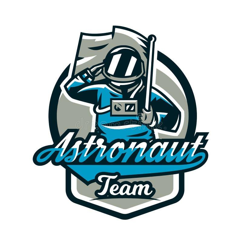 L'emblema, logo, un astronauta saluta e tiene una bandiera Volo alla luna, spazio, viaggio intergalattico, universo, schermo illustrazione di stock