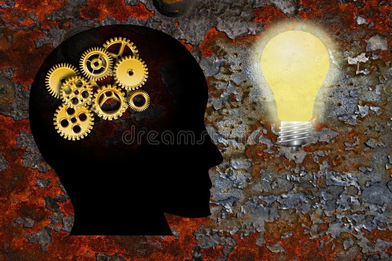 L'or embraye le fond grunge de texture d'ampoule de tête humaine illustration de vecteur