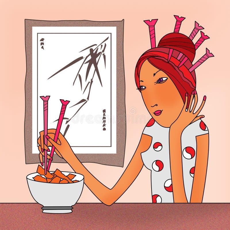 L'emicrania, viti della ragazza nell'acconciatura prova i bastoncini del pasto royalty illustrazione gratis