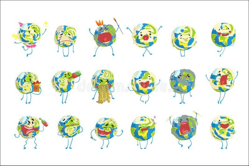L'emoji drôle mignon de la terre du monde montrant différentes émotions a placé des illustrations colorées de vecteur de caractèr illustration stock