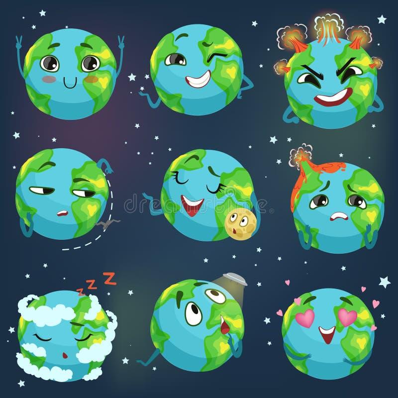 L'emoji drôle mignon de la terre de planète montrant différentes émotions a placé des illustrations colorées de vecteur de caract illustration libre de droits