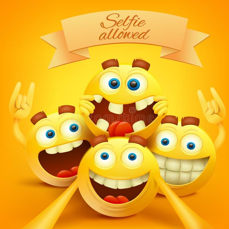 L'emoji souriant jaune fait face à des caractères faisant le selfie illustration de vecteur