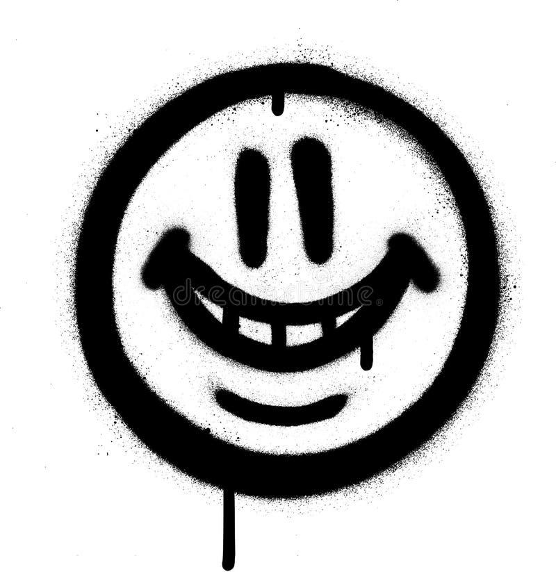 L'emojo lunatique de sourire de graffiti a pulvérisé dans le noir sur le blanc illustration libre de droits