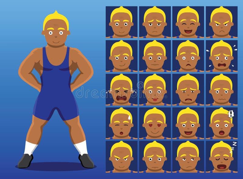 L'emozione brasiliana del fumetto del lottatore affronta l'illustrazione di vettore illustrazione vettoriale