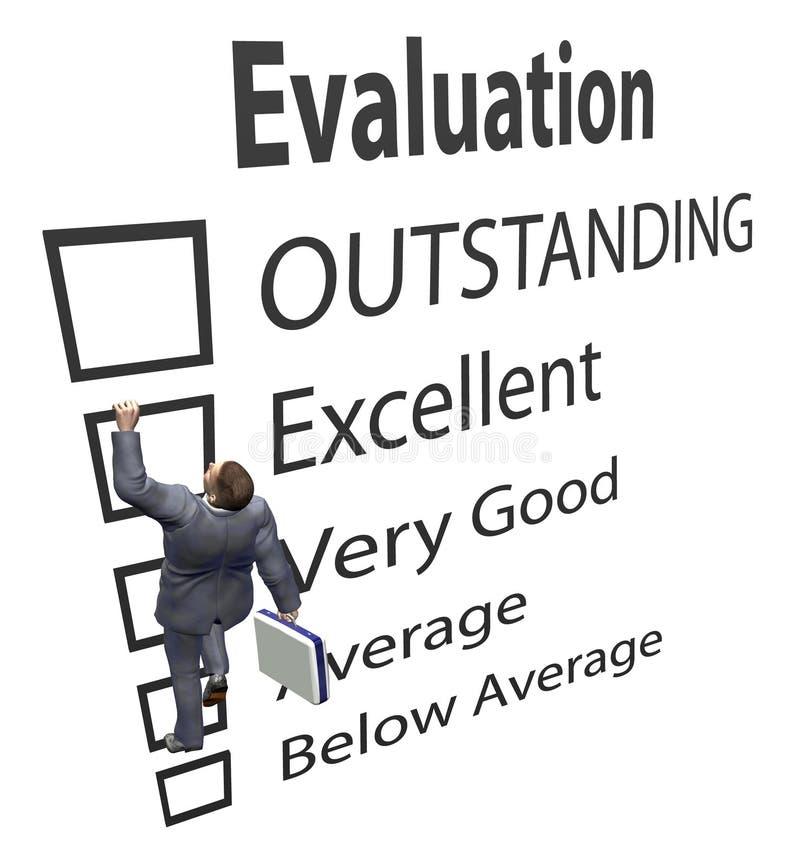 L'employé d'affaires monte le formulaire d'évaluation illustration libre de droits