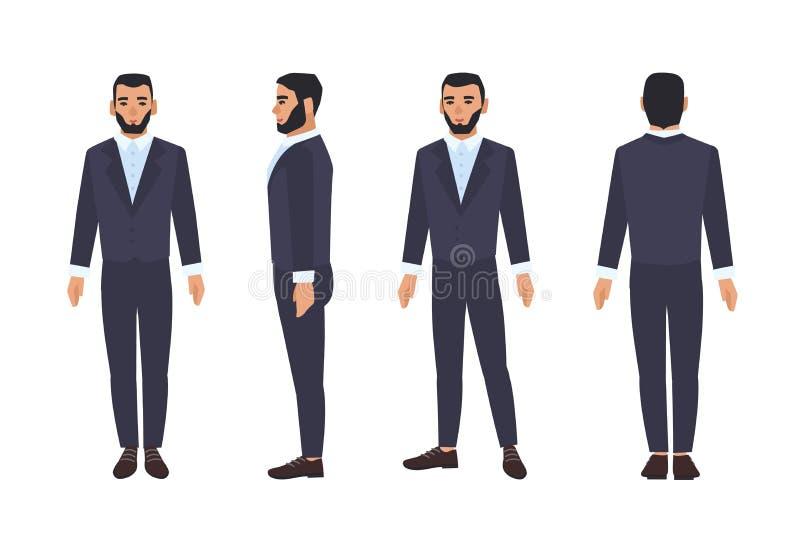 L'employé de bureau caucasien d'homme ou de mâle d'affaires avec la barbe s'est habillé dans le costume futé ou l'habillement for illustration de vecteur