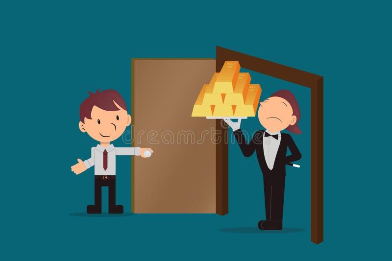 L'employé reçoit des barres d'or, des investissements risqués à court terme l'exécutif ouvre la porte à la résolution de vos prob illustration libre de droits
