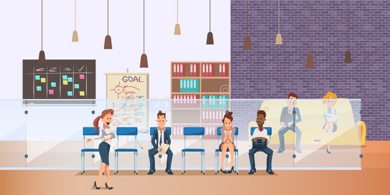 L'employ? songeur s'asseyent dans la file d'attente pour l'entrevue d'emploi illustration de vecteur