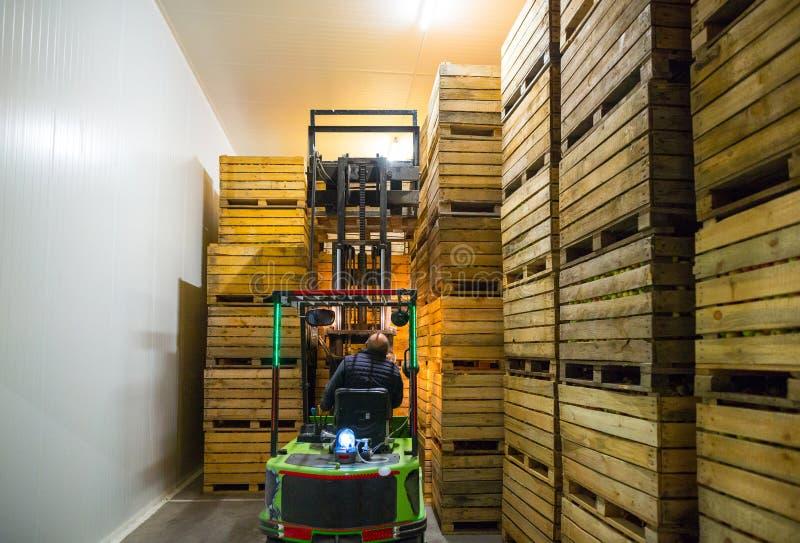 L'employé sur le chariot élévateur électrique porter le conteneur avec r photographie stock