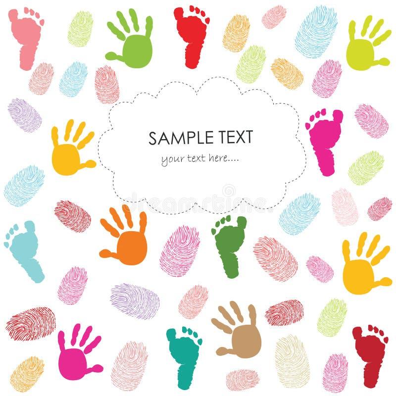 L'empreinte de pas de bébé, les copies de main et la carte de voeux d'enfants d'empreintes digitales dirigent l'illustration illustration libre de droits