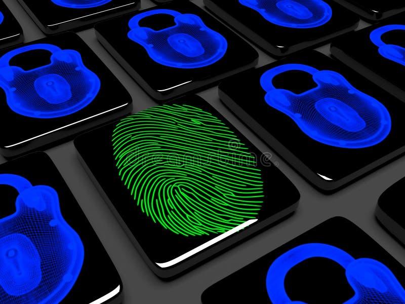 L'empreinte digitale sur le clavier numérique est 3d verrouillé rendent illustration stock