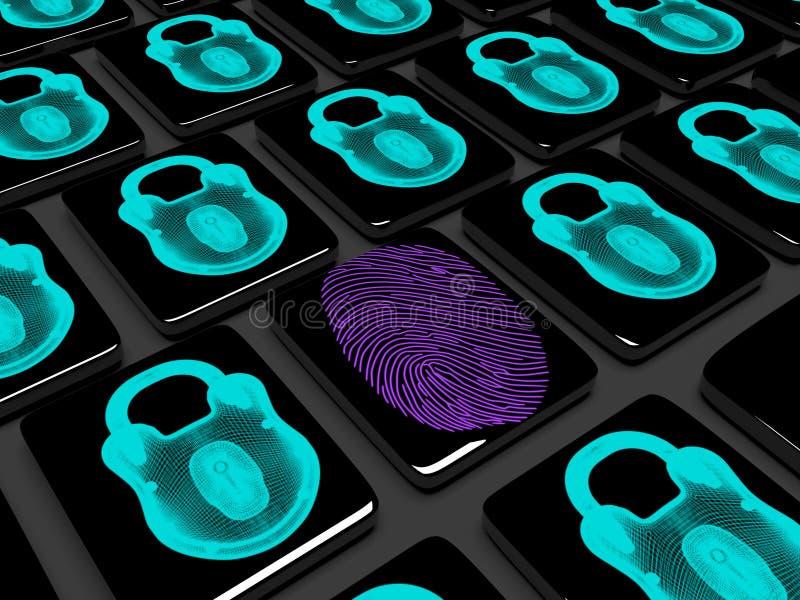 L'empreinte digitale sur le clavier numérique est 3d verrouillé rendent illustration libre de droits