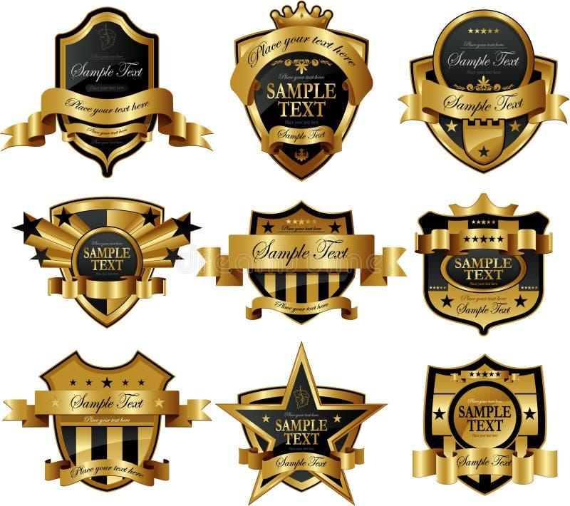 L'or a encadré des étiquettes illustration stock