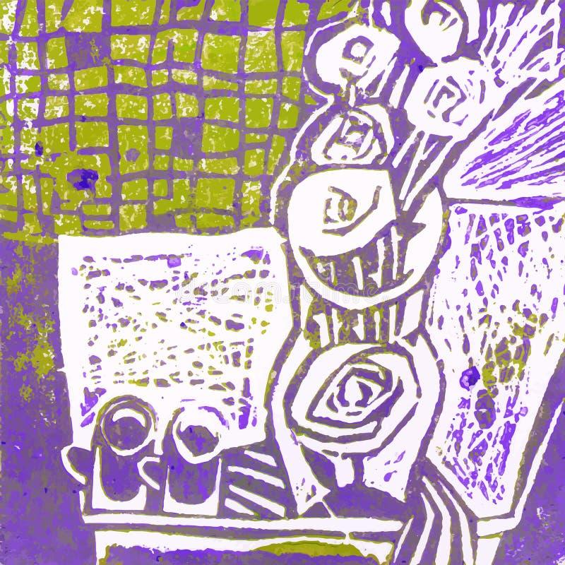 L'encore-vie abstraite avec le vase, groupe de roses et deux tasses illustration libre de droits