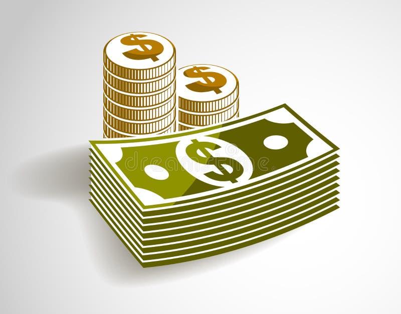 L'encore-vie d'argent d'argent liquide avec les pièces de monnaie et la pile du dollar de billet de banque, vecteur classique de  illustration de vecteur
