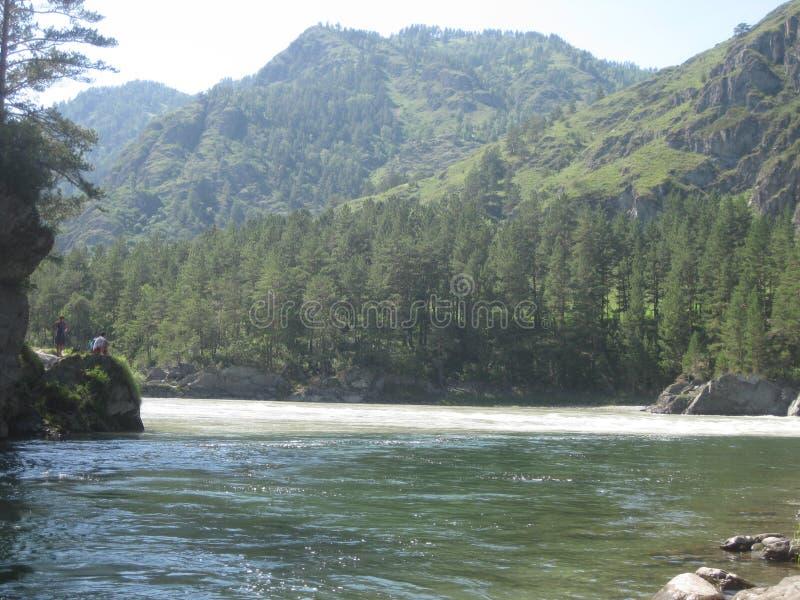 L'endroit du confluent de la rivière de Chemal dans Katun Montagne Altai image stock