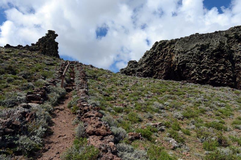 L'endroit habité par les tribus indiennes antiques en parc national Pali Aike image libre de droits