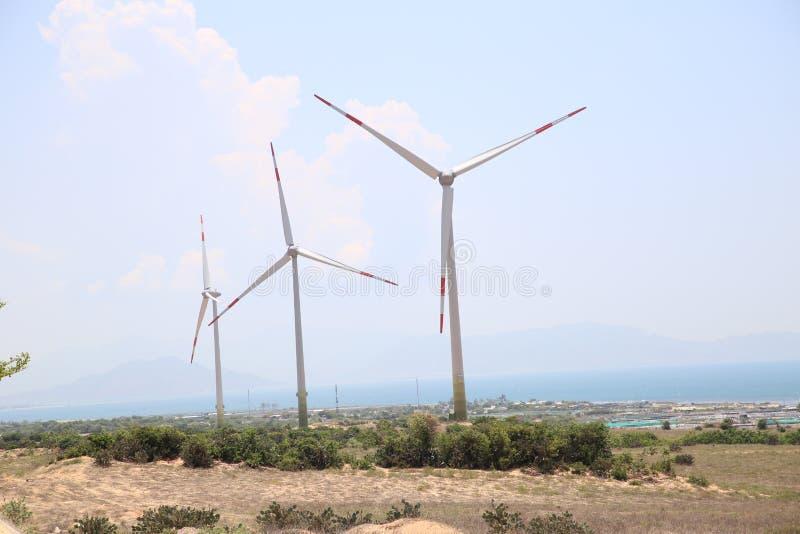 L'energia eolica è stata promossa dalla provincia di Ninh Thuan, richiedente gli investitori attivamente per partecipare investim fotografia stock libera da diritti