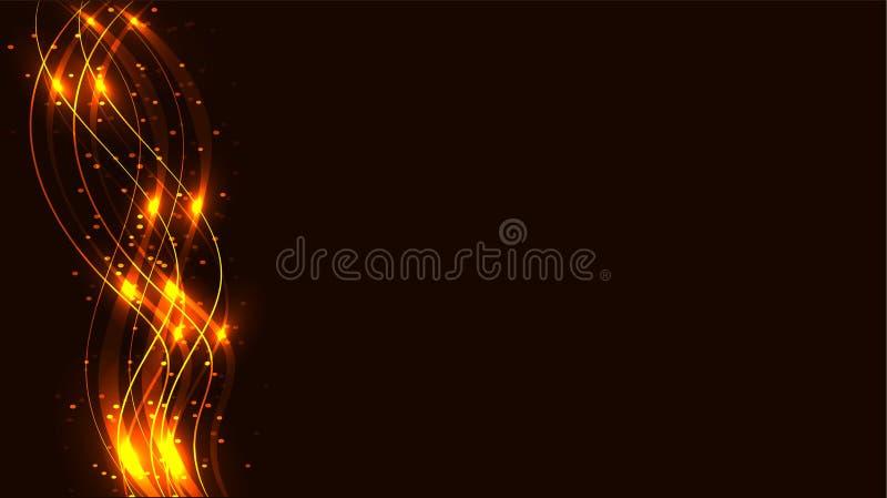 L'energia magica cosmica magica brillante astratta trasparente dorata e gialla allinea, rays con abbagliamento ed i punti e la lu royalty illustrazione gratis