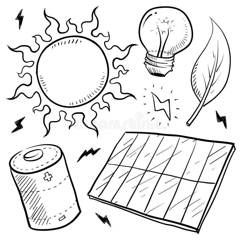 L'energia solare obietta l'abbozzo illustrazione vettoriale