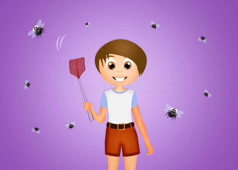 L'enfant écrase des mouches illustration de vecteur