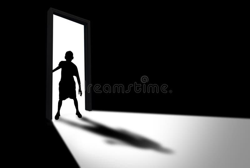 L'enfant écrit le concept de chambre noire de l'inconnu et de la crainte photo libre de droits