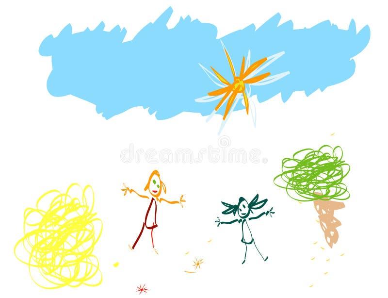 L'enfant aiment dessiner illustration stock