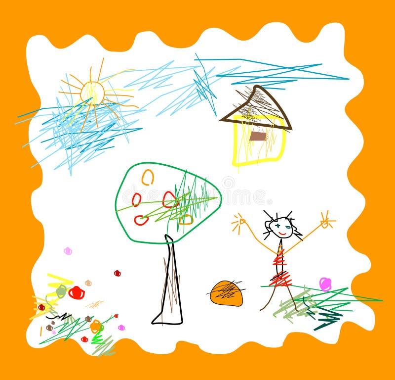 L'enfant aiment dessiner illustration libre de droits