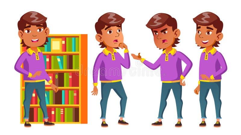 L'enfant arabe et musulman d'écolier de garçon pose le vecteur réglé Écolier primaire Enfants drôles leçon bibliothèque lifestyle illustration stock