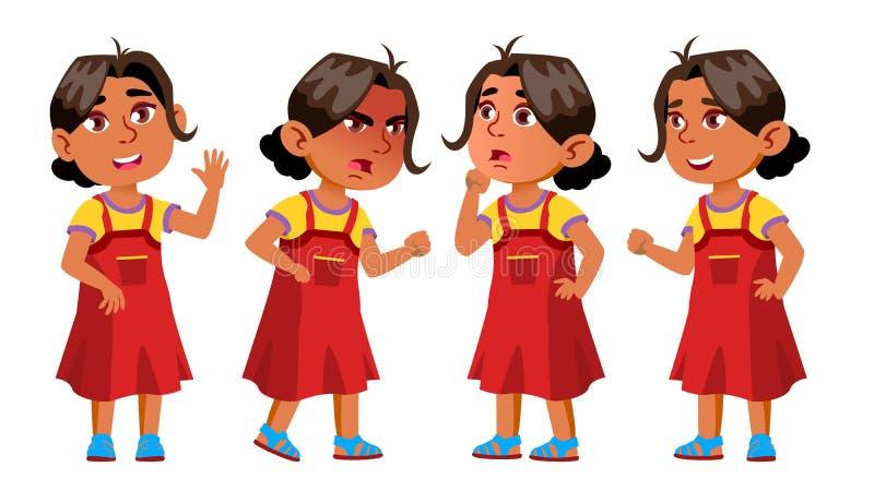 L'enfant arabe et musulman de jardin d'enfants de fille pose le vecteur réglé Petits enfants Plaisir de bonheur Pour le Web, broc illustration stock