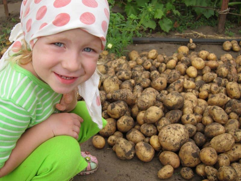 L'enfant avec une pomme de terre image libre de droits