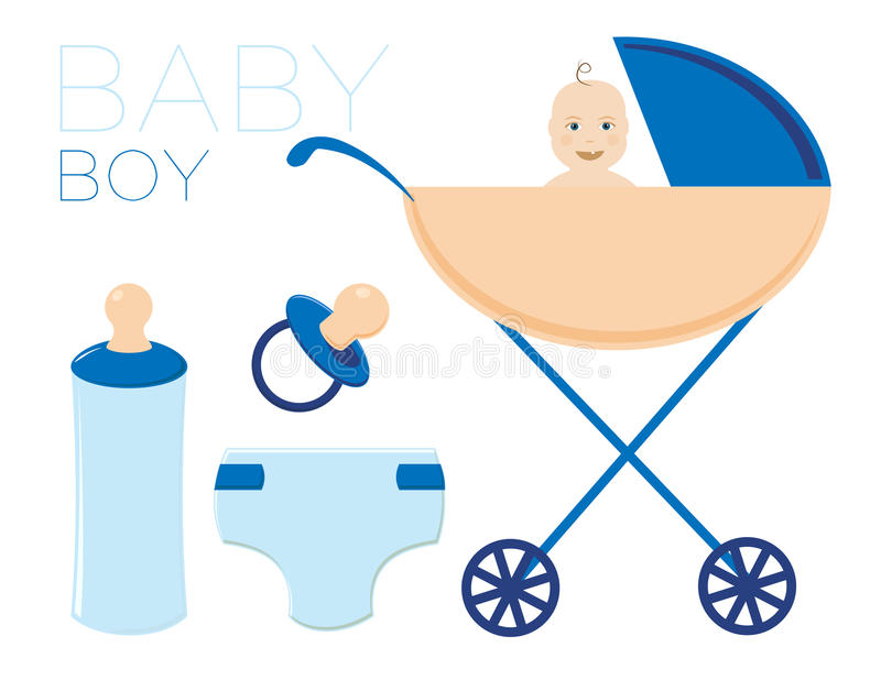 L'enfant dans la poussette Le garçon est un nouveau-né Il a un mamelon, une bouteille et une couche-culotte Un ensemble d'illustr illustration stock