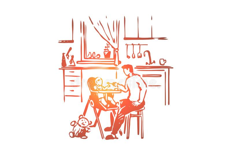 L'enfant de alimentation d'homme, la cuill?re de participation de parent, l'enfant en bas ?ge s'asseyant dans la chaise d'arbitre illustration de vecteur
