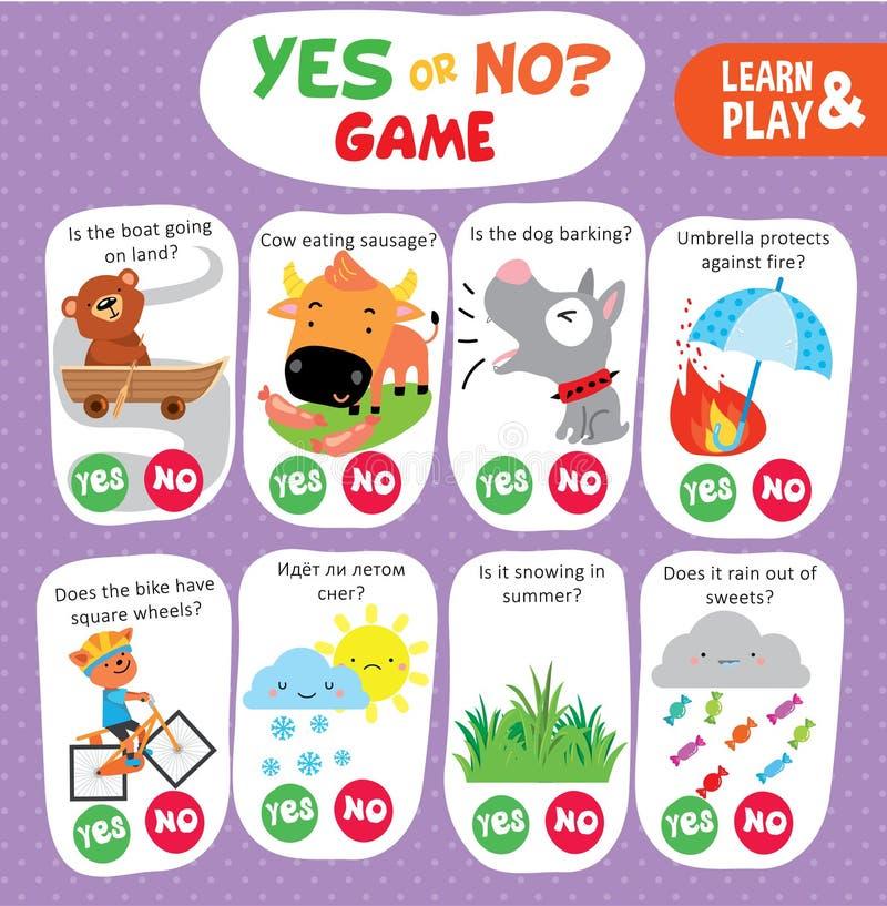 L'enfant de logique n'apprennent oui aucune fiche de travail imprimable de jeu illustration stock